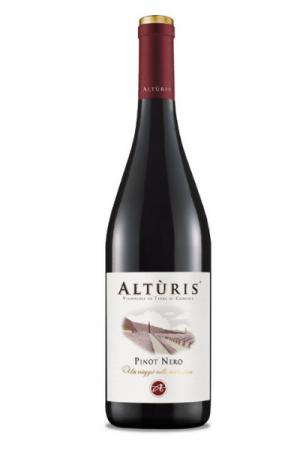 Una bottiglia di Pinot Nero Altùris vino rosso al Ristorante Mangio Roma