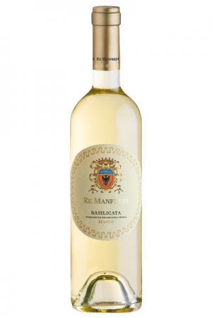 Una bottiglia di vino Bianco Re Manfredi Terre Degli Svevi al Ristorante Mangio Roma